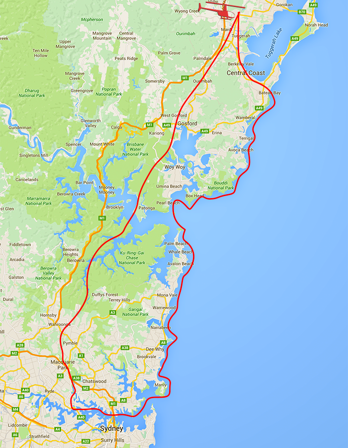 My Heli Sydney Harbour Extended map